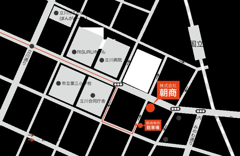 朝商の周辺マップ